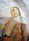 Portrait de Christopher Columbus, peintures murales du monastère de la La Rabida, Huelva, Espagne image stock