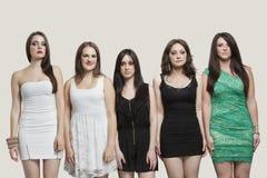 Portrait de cinq amis de jeunes femmes se tenant côte à côte au-dessus du fond gris Photographie stock libre de droits