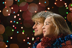 Portrait de couples d'amour de Noël Images libres de droits