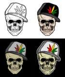 Portrait de crâne utilisant le chapeau de Rastaman Photographie stock libre de droits
