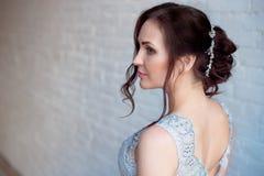 Portrait de dame de charme dans la robe de luxe de dos nu Belle fille modèle avec le maquillage et la coiffure parfaits de mode Photo libre de droits
