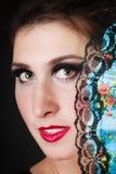 Portrait de danseur espagnol de flamenco de fille avec la fan Photos stock