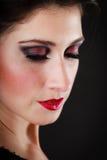 Portrait de danseur espagnol de flamenco de fille sur le noir Photo libre de droits