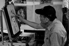 Portrait de dessin d'artiste à Montréal Photographie stock
