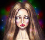 Portrait de dessin d'une belle fille qui pleure Photo libre de droits