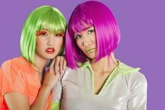 Portrait de deux amis féminins portant des perruques sur le fond gris Photo stock