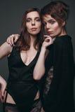 Portrait de deux beaux, modèle-jumeaux sensuels de brune Images libres de droits