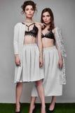 Portrait de deux beaux, modèle-jumeaux sensuels de brune Images stock