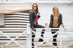 Portrait de deux belles jeunes amies avec les tasses de café de papier dans des mains Image libre de droits