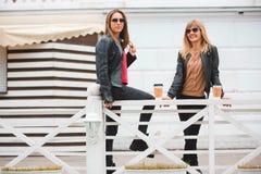 Portrait de deux belles jeunes amies avec les tasses de café de papier dans des mains Photos stock