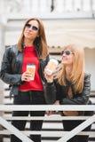 Portrait de deux belles jeunes amies avec les tasses de café de papier dans des mains Photo libre de droits