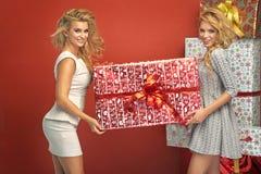 Portrait de deux femmes blondes magnifiques Photographie stock