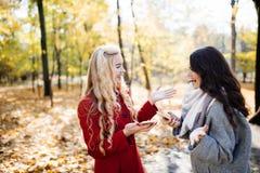 Portrait de deux femmes riantes parlant dehors en parc d'automne Images libres de droits