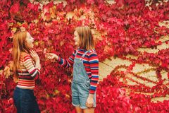 Portrait de deux filles de la préadolescence assez petites Photo stock