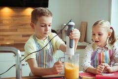Portrait de deux heureux et de petits enfants mignons qui ayant l'amusement Photographie stock libre de droits