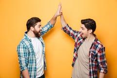 Portrait de deux jeunes hommes heureux donnant la haute cinq Photo libre de droits