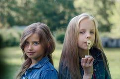 Portrait de deux petites filles mignonnes appréciant l'été dehors Photographie stock