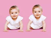 Portrait de deux rampements doux de bébé de jumeaux photographie stock