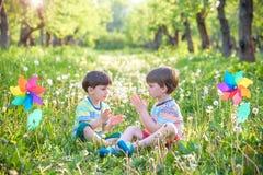 Portrait de deux smilin de garçons, d'enfants de mêmes parents, de frères et de meilleurs amis Image libre de droits