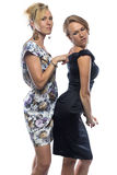 Portrait de deux soeurs de plaisanterie sur le fond blanc Image libre de droits