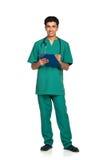 Portrait de docteur avec le dossier santé sur le fond blanc Image stock
