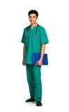 Portrait de docteur avec le dossier santé sur le fond blanc Photos stock