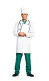 Portrait de docteur avec le dossier santé sur le fond blanc Photographie stock
