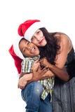 Portrait de famille de Noël heureux Images stock