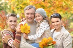 Portrait de famille heureuse en parc d'automne photos stock