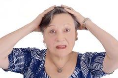 Portrait de femme agée choqué Images stock