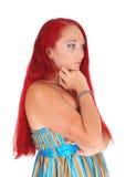 Portrait de femme avec de longs cheveux rouges Images libres de droits