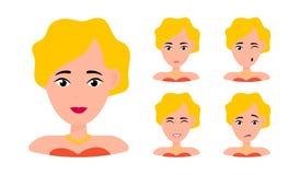 Portrait de femme avec diff?rentes expressions illustration de vecteur