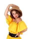 Portrait de femme avec le chapeau de cowboy Image stock