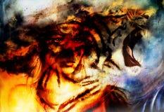 Portrait de femme avec le tigre spirituel du feu sur l'espace, collage de peinture de couleur photographie stock