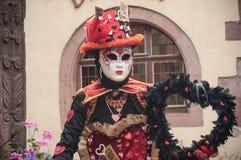 Portrait de femme Costumed au défilé vénitien dans Riquewihr en Alsace Photographie stock