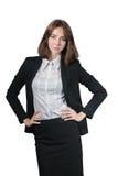 Portrait de femme d'affaires d'isolement sur le blanc image stock