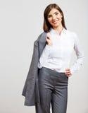 Portrait de femme d'affaires sur le blanc Photographie stock