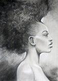 Portrait de femme de couleur de dessin de fusain Photo libre de droits