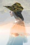 Portrait de femme de double exposition images libres de droits