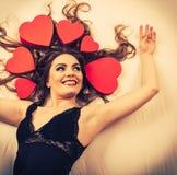 Portrait de femme heureuse Amour du jour de Valentine Photos libres de droits