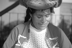 Portrait de femme indienne péruvienne Photographie stock libre de droits