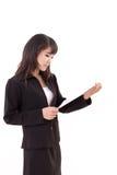 portrait de femme professionnelle asiatique heureuse, calme, fraîche, sûre d'affaires Photos stock