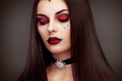 Portrait de femme de vampire de Halloween Photographie stock libre de droits