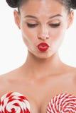 Portrait de fille à l'arrière-plan de blanc de lingerie Photographie stock