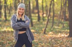 Portrait de fille de beauté en automne Photos stock