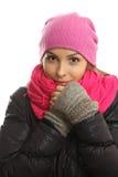 Portrait de fille d'hiver d'isolement sur le blanc. photographie stock libre de droits