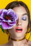 Portrait de fille de beauté avec le maquillage vif Fin de portrait de femme de mode sur le fond jaune Couleurs lumineuses La manu photos stock