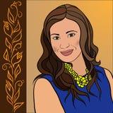 Portrait de fille de brune avec un sourire doux Photos libres de droits