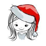 Portrait de fille de Santa, croquis pour votre conception Photo libre de droits