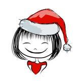 Portrait de fille de Santa, croquis pour votre conception Photographie stock